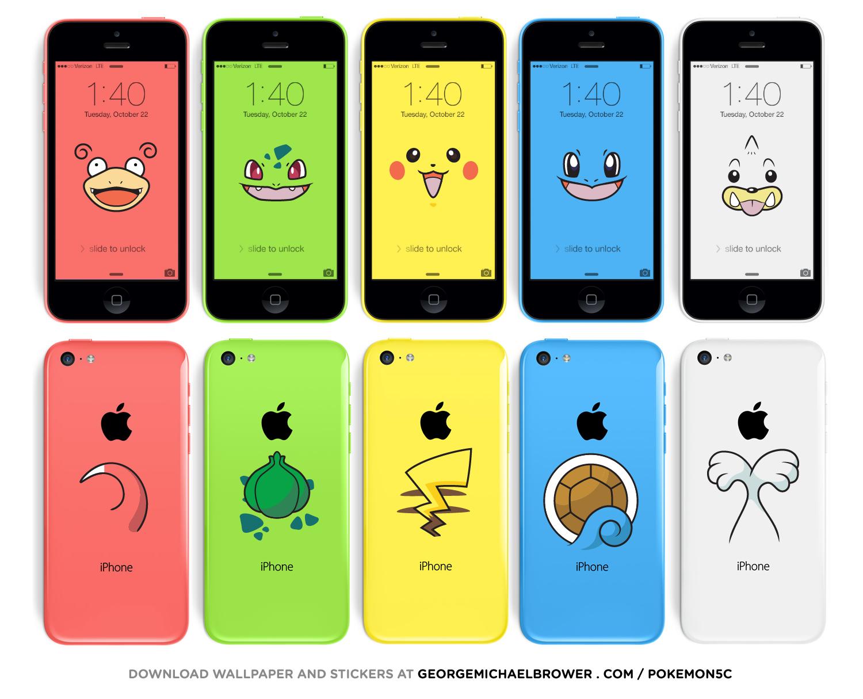 ピカチュウiphoneが作れる Iphone 5c用のポケモン壁紙 シール素材が