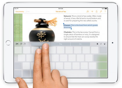 ios 9 ipad keyboard cursor
