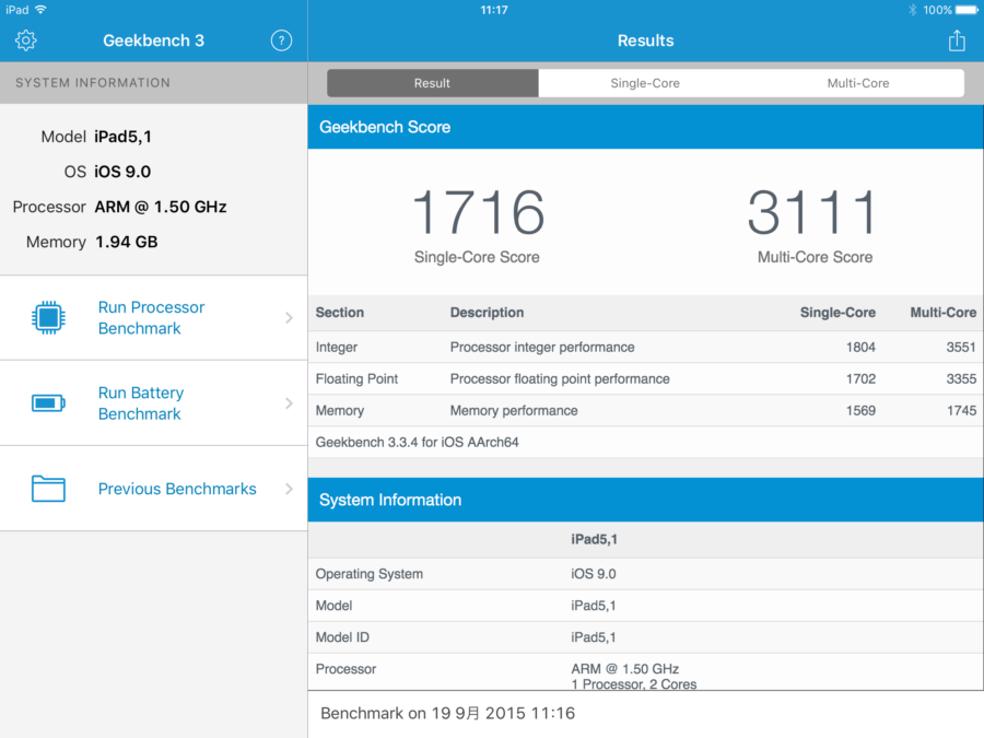 ipad mini 4 geekbench