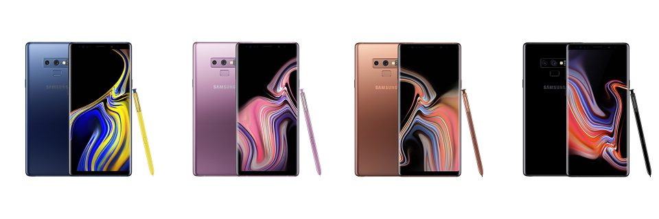 Galaxy Note9 Ocean Blue、Lavender Purple、Metallic Copper、Midnight Black
