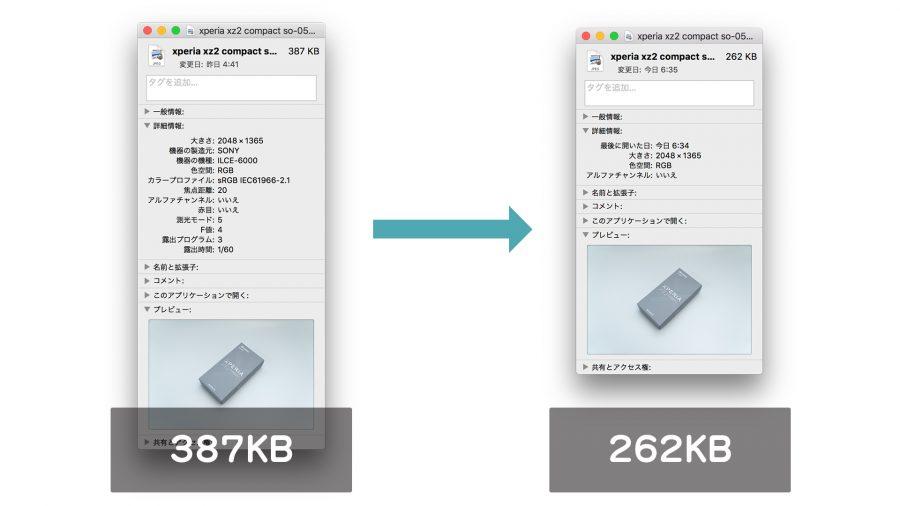 ImageOptimで圧縮前・圧縮後のファイルサイズ